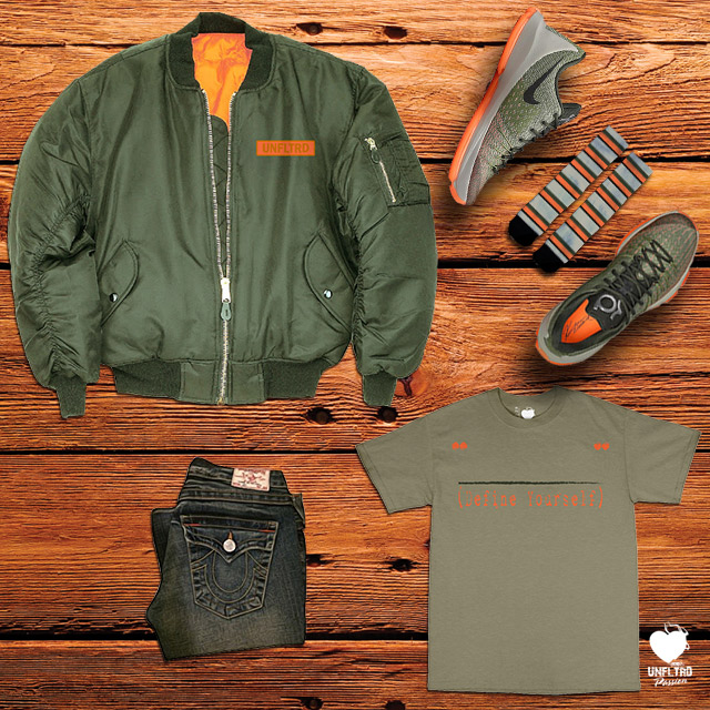 Flight Jacket | Define Yourself Tee | I Love Stripes Socks | KD Easy Euro